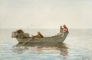 HOMER: THREE BOYS, 1875. 'Three Boys in a Dory with Lobster Pots.' Winslow Homer