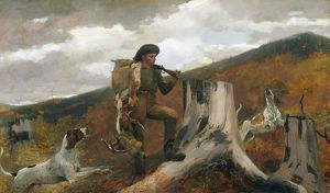 HOMER: A HUNTSMAN AND DOGS. Oil on canvas, Winslow Homer, 1891