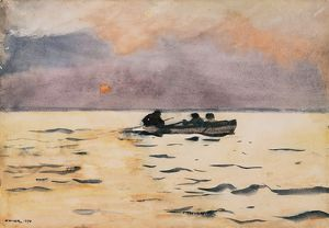 HOMER: ROWING HOME, 1890. Watercolor on paper, Winslow Homer, 1890