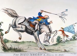 The horse 'America' throwing his master