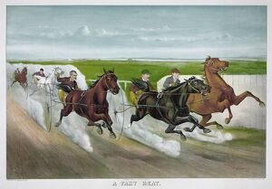 HORSE RACING, c1887. 'A Fast Heat.' Drivers and horses in the midst of a