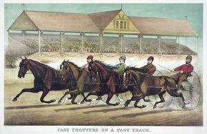 HORSE RACING, c1889. 'Fast Trotters on a Fast Track