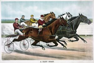 HORSE RACING, c1894. 'A Fast Heat.' Drivers and horses in the midst of a