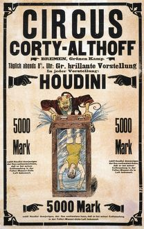 HOUDINI POSTER. A German poster, 1903, for the Circus Corty-Althoff in Bremen, featuring