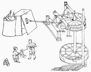 Hydraulic machine used to power a foundray furnace. Sketch after a Chinese work of 1313.