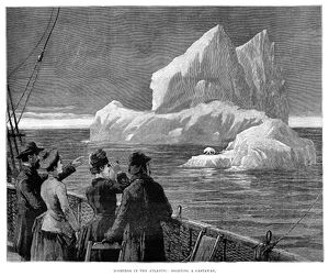 ICEBERG, 1887. Passengers on board a steamship in the North Atlantic observing an iceberg