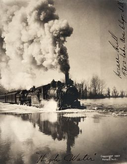 ILLINOIS: FLOOD, c1907. Flooding along the railroad tracks in Illinois. Photograph