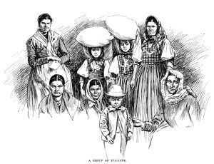 IMMIGRANTS, 1891. 'A group of Italians.' Engraving, 1891