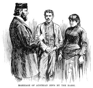 IMMIGRANTS, 1891. 'Marriage of Austrian Jews by the rabbi.' Engraving, 1891