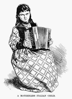 IMMIGRANTS, 1891. 'A motherless Italian child.' Engraving, 1891