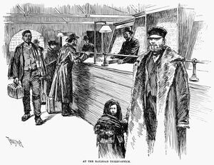 IMMIGRANTS, 1891. 'At the railroad ticket-office.' Engraving, 1891