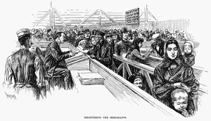 IMMIGRANTS, 1891. 'Registering the immigrants.' Engraving, 1891