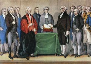 currier ives/inauguration george washington federal hall new york