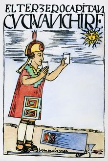 INCA SUN WORSHIP. An Inca captain offers a libation to the sun, then drinks the