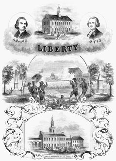INDEPENDENCE DAY. Commemorative illustration of the 4th of July. Engraving, 1853