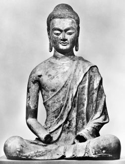 Indian philosopher, founder of Buddhism. Chinese dry lacquer figure of seated Buddha