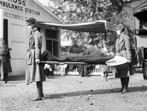 INFLUENZA EPIDEMIC, 1918. Red Cross workers at Washington, D