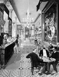 bars taverns saloons/interior view hoffman house bar lithograph american