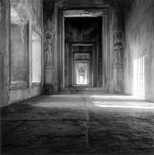 An interior view of a temple at Angkor Wat. Photographed in 1960.