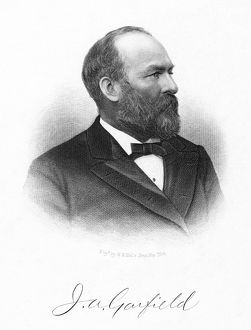 JAMES A. GARFIELD (1831-1881). 20th President of the United States. Steel engraving