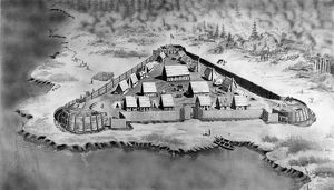 JAMES FORT, c1607. James Fort, the first permanent English colony in Virginia. Drawing