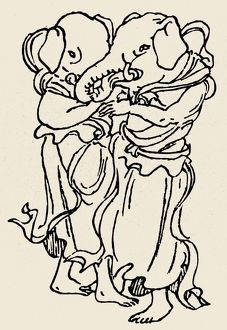 Japanese Buddhist deities, adapted from the Hindu deity, Ganesh. Deities of marital happiness