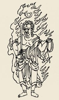 Japanese Buddhist divinity of wisdom and fire, also known as Acala. Line drawing.
