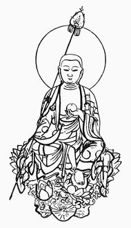 Japanese form of the Bodhisattva Ksitigarbha, guardian of the soul. Line engraving.