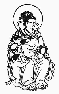 Japanese form of Hariti, Buddhist goddess for the protection of children. Line engraving.