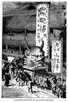 A Japanese matsuri, or Buddhist festival. Line engraving, 19th century.