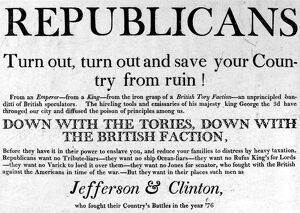 JEFFERSON CAMPAIGN, 1804. Republican campaign poster, 1804, encouraging the election