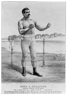 JOHN L. SULLIVAN (1858-1918). American heavyweight pugilist. Lithograph by Currier and Ives