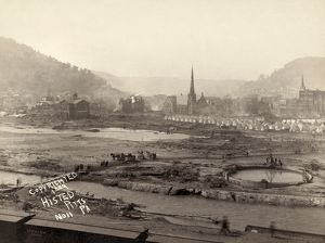 JOHNSTOWN FLOOD, 1889. A camp of relief corps in Johnstown, Pennsylvania, after