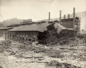 JOHNSTOWN FLOOD, 1889. Ruins of Cambria Iron Mills in Johnstown, Pennsylvania