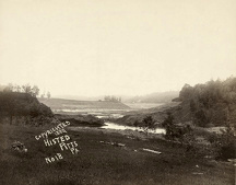 JOHNSTOWN FLOOD, 1889. A view of the broken South Fork Dam in Johnstown, Pennsylvania