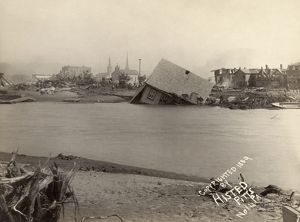 JOHNSTOWN FLOOD, 1889. A view of wrecked houses in Johnstown, Pennsylvania, after