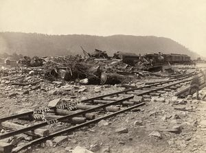 JOHNSTOWN FLOOD, 1889. A wreck of Pullman cars and engines at Conemaugh in Johnstown