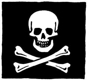 JOLLY ROGER FLAG. Flag of the English pirate, Edward England.