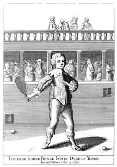 King of Great Britain and Ireland, 1685-1688. James II as a boy, playing tennis. Line engraving