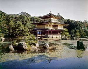 Kinkaku-ji Temple (Temple of the Golden Pavilion), originally built in 1397, in Kyoto