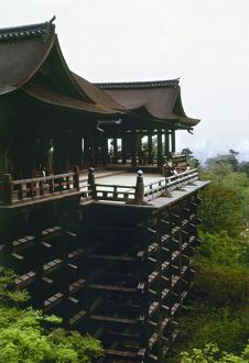 The Kiyomizu-dera temple in Kyoto, Japan. The temple dates to 798, the present bulding to 1633