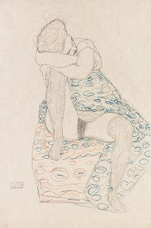 KLIMT: SEATED FIGURE, 1910. 'Seated Figure with Gathered up Skirt.' Drawing