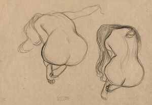 KLIMT: SEATED NUDE, C1901. 'Two Studies of a Seated Nude with Long Hair