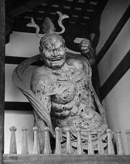 Kongo Rikishi (guardian) in the Todai-ji Temple at Nara, Japan. Photograph, c1960s.