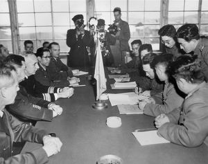KOREAN WAR, 1953. An exchange of prisoners agreement at Panmunjom, April 17, 1953