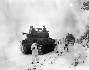 KOREAN WAR: ALLIED FORCES. Allied forces approaching Wonju, South Korea, in January 1951.