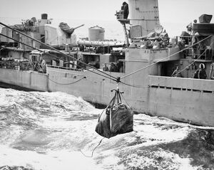 KOREAN WAR: NAVY MAILBAG. Mailbag sent along the highline from the naval destroyer U