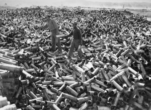 KOREAN WAR: SHELL CASINGS. Brass artillery shell casings at a U.S. Army salvage yard in Korea