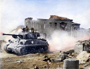 KOREAN WAR: TANK, 1951. An American First Division tank drives north through Chunchon