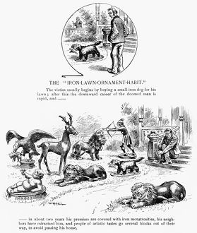 LAWN ORNAMENTS, 1889. American cartoon of a man who bought too many iron lawn ornaments